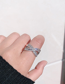 Fashion 7 # Silver Micro Inlaid Crystal Zircon Intertwined Ring
