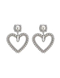 Fashion Silver 925 Silver Pin Flash Diamond Earrings