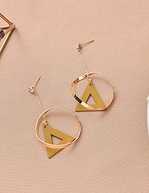 Fashion Yellow Geometric Ring Stitching Frosted Cutout Triangle Earrings