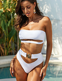 Fashion White Bandeau Bandage Split Swimsuit