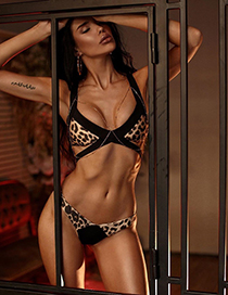Fashion Leopard Print Split Split Swimsuit