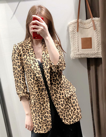 Fashion Leopard Print Leopard Print Pleated Blazer
