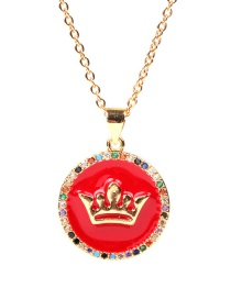 Fashion Red Zircon Crown Diamond Drop Stainless Steel Necklace