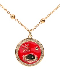 Fashion Red Round Oil Drop Planet Ray Saturn Inlaid Zircon Stainless Steel Necklace