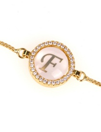 Fashion F Golden Micro Diamond Set Shell Letter Pull Zircon Bracelet