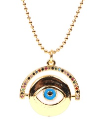 Fashion White Gold-plated Eye Round Stainless Steel Necklace