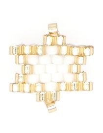 Fashion Gold + White Rice Beads Woven Big Five-pointed Star Pattern Accessory
