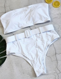 Fashion White Tube Top With Belt Split Swimsuit