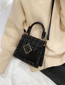 Fashion Black Woolen Plaid Trapezoidal Square Buckle Shoulder Cross-body Bag