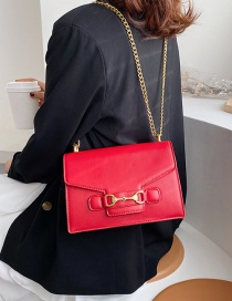 Fashion Red Buckle Chain Shoulder Bag