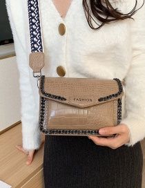 Fashion Khaki Stone Shoulder Bag With Wide Shoulder Strap