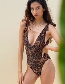Fashion Leopard Print Graffiti Leopard Print One-piece Swimsuit