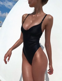 Fashion Black Solid Color One Piece Swimsuit