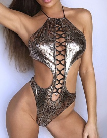 Fashion Siamese Coffee Color Snake Print Lace Up Bikini