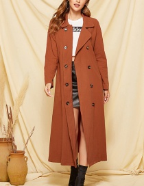 Fashion Orange Double-breasted Trench Coat