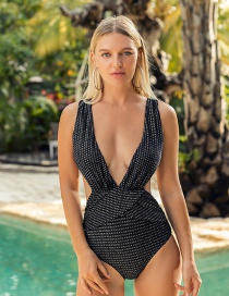 Fashion Silver Iron Chain Pleated Cross Deep V One Piece Swimsuit
