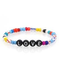 Fashion Color Woven Love Rainbow Beaded Bracelet