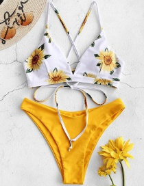 Fashion Yellow Printed Lace Up Swimsuit