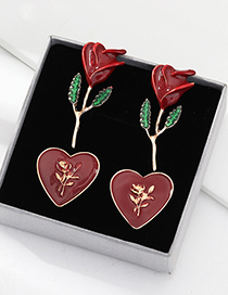 Fashion Red Love Drop Oil Rose Earrings 2 Pairs