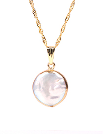 Fashion Golden Shaped Button Pearl Stainless Steel Necklace