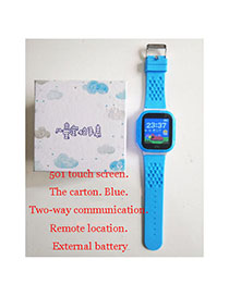 Fashion 501 Touch Screen (carton Packaging) Blue Waterproof Positioning 1.44 Inch Key Touch Screen Smart Children Phone Watch