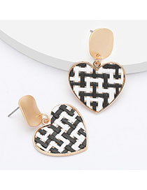 Fashion Black Alloy Rattan Woven Pattern Love Heart Earrings