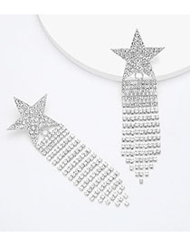 Fashion Silver Alloy Rhinestone And Diamond Pentagram Tassel Earrings