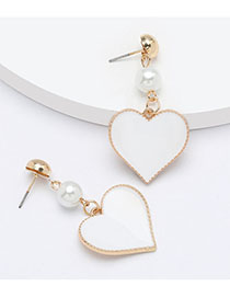 Fashion White Pearl Alloy Oil Drop Heart-shaped Earrings