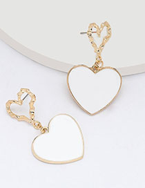 Fashion White Multi-layer Love Heart-shaped Alloy Oil Drop Earrings