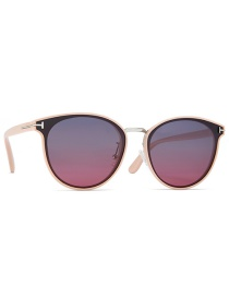 Fashion Silver Frame / Pink Frame / Gray Red T-shaped Round Frame Tac1.1 Lens Polarized Sunglasses