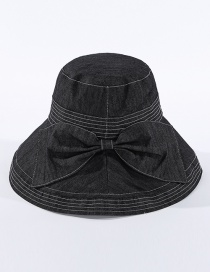 Fashion Black Fisherman Hat With Big Eaves Running Bow