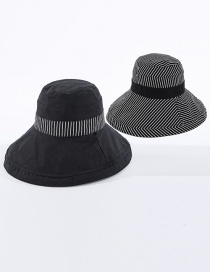 Fashion Black Double-sided Striped Fisherman Hat