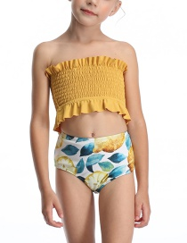 Fashion Yellow Halter Drawstring Stitching Pleated One-piece Swimsuit For Children