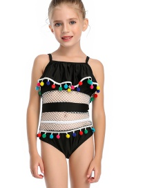 Fashion Black Mesh Stitching Lotus Leaf Fringed Fringed One-piece Swimsuit For Children