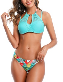 Fashion Green + Fruit Print Net Stitching Halter Print Split Swimsuit
