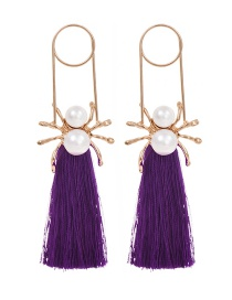 Fashion Purple Alloy Pearl Pin Spider Tassel Stud Earrings