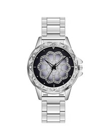 Fashion Silver Quartz Watch With Diamonds And Steel Band