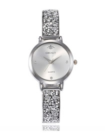 Fashion Silver Crown Quartz Watch With Steel And Diamonds