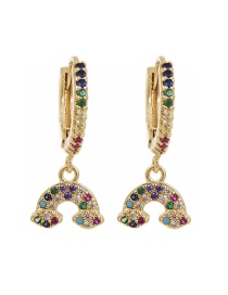 Fashion Golden Cubic Zirconia Dolomite Earrings