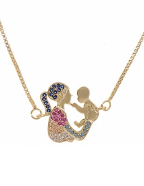 Fashion Golden Cubic Zirconia Mother And Child Necklace