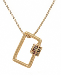 Fashion Golden Cubic Zirconia Square Necklace