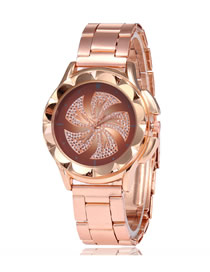 Fashion Brown Starry Windmill Diamond Watch