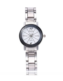 Fashion Women's White Noodles Quartz Pair Watch With Steel Band And Diamonds