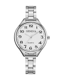 Fashion Silver Large Dial With Digital Steel Strap Watch