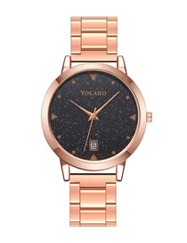 Fashion Rose Gold Starry Calendar Steel Band Quartz Watch