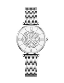 Fashion Silver With White Surface Ultra-thin Quartz Watch With Diamonds And Steel Strap