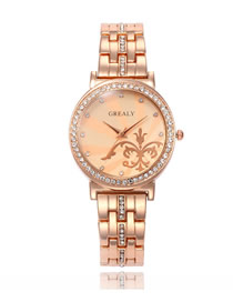 Fashion Rose Gold Rose Quartz Watch With Diamonds