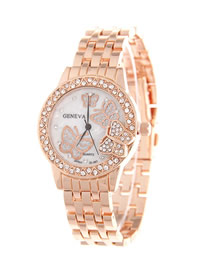 Fashion Rose Gold Steel Band Butterfly Diamond Watch