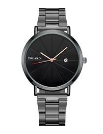 Fashion Black Belt Black Face Steel Strap Ultra-thin Calendar Men's Watch