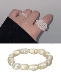 Fashion Single Layer (elastic) White Freshwater Pearl Hand-woven Cotton Woven Winding Ring
